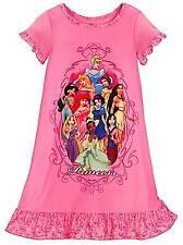 Disney Store Rapunzel Ariel Mulan Belle Snow White Aurora Tiana Nightgown Size 4