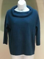 NWT $44 Debbie Morgan Blue Boho Teal Cowlneck 3/4 Sleeve Sweater Size: M