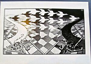 M C Escher Day and Night 1938 BEAUTIFUL SURREALISM 16x11  14x8
