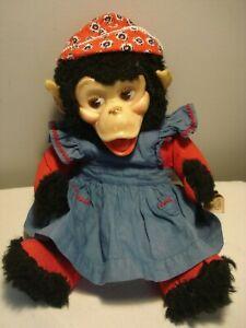 "Vintage....1971...Very Cute 13"" Gund....Vinyl Face Monkey.....Stuffed Animal Toy"