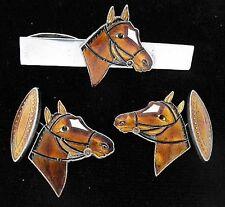 Sterling Enamel Japan HORSE Head Cufflinks Tie Clasp Art Deco Vtg 950 Silver Dot