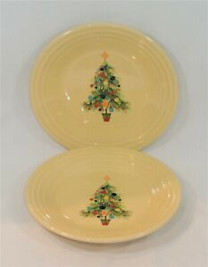 FIESTA Ivory CHRISTMAS TREE Plates Set of 2 Contemporary Homer Laughlin 9 inches