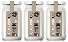 3 x Cocofina 100% Pure Organic Coconut Oil, Unrefined Cold Pressed