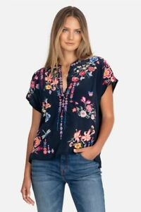 💕$310 JOHNNY WAS GARDENIA FLORAL EMBROIDERED SILK BLOUSE SZ XXL NEW BEAUTIFUL