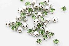 CraftbuddyUs100 4.3mm SewOn Lime Green SilverSet Glass Crystal Diamnte Rhinestne