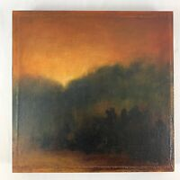 """Vintage J POLLOCK Oil Painting First Light II Canvas Painted on Wood Square 16"""""""