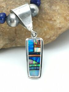 Native American NAVAJO Sterling Silver Necklace Lapis Opal Pendant Set 22in 2907