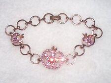 """Armband """"ÄPFEL"""" mit pinken Kristallsteinen -18k Rotgold -No Name -SEHR SCHÖN"""
