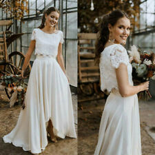High Low Beach Wedding Dresses Jewel Neck Two Pieces A Line Beach Bridal Gowns