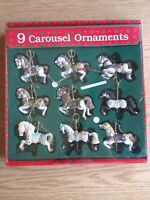 9 VTG 1980s Carousel Horse Holiday Christmas Tree Ornament With Poles NEW IN BOX