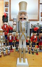 LARGE NEW NUTCRACKER 62CM CHRISTMAS DECORATION SILVER PRINCE WITH GOLD HAT