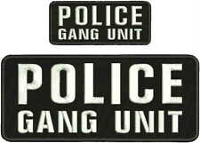 POLICE GANG UNIT embroidery patch 4x10 and 2x5 hook white
