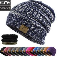 Men Womens Beanie Knit Hat Winter Warm Thermal Fleece Cuff Cap Slouchy Skull Ski