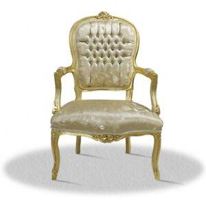 Barockstuhl mit Muster im Stoff gold luxus design möbel lounge kamin sessel deko