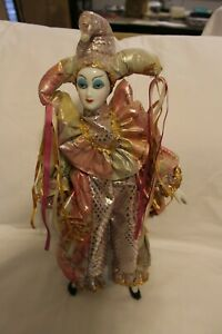 Pink & Gold Harlequin Mardi Gras Doll with Stand 17""