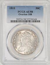 1818 Capped Bust Half Dollar Pincher/Pincer 8's O-108 PCGS AU58! #AZP7