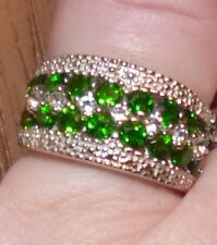 DESIGNER  GENUINE RUSSION CHROME DIOPSIDE & ZIRCON 5 ROW BAND RING SIZE 6