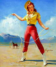 'PERFECT FORM' 1968 GIL ELVGREN VINTAGE PIN UP GIRL WESTERN POSTER PRINT 24x20
