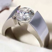 Engagement Ring Solid 14k White Gold 2.50 Carat Round Moissanite Solitaire Man's