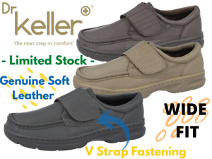Mens Dr Keller Texas Real Leather V Strap Wide Fit Moccasin Loafers Casual Shoes