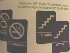 """ADA No Smoking Signs  And Stairs Signs Both 9""""X 6"""" Both Come In Blu/wht & Blk/Wh"""