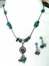 ARTISAN STERLING LIQUID SILVER & TURQUOISE NECKLACE W/PENDANT southwestern