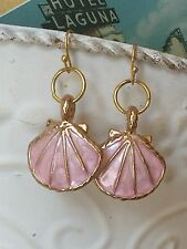 Gold and Pink Seashell Dangle Earrings. Ocean. Sea. Beach. Tropical. Paradise.