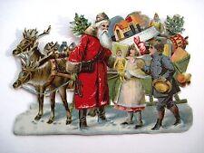 Vintage Victorian Antique Christmas Die-Cut w/ Santa, Reindeer, Toys & Kids   *