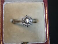 Antique Diamond  Cluster Antique  Ring In 18 K Gold  (ref fs)