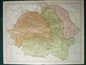 1919 LARGE MAP RUMANIA TRANSYLVANIA BUKOVINA WALLACHIA BUCHAREST