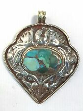 Tibetan Hand Carved  Mosiac Turquiose Bead Pendant