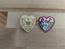 Disney Pin 3D Princess Heart Pendant Hinged, Belle Ariel Tiana Jasmine Aurora...