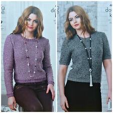 KNITTING PATTERN Ladies Ling & Short Sleeve Sequined Jumper DK & Cosmos 4053