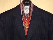 NWT Structure 44L Wool Dark Navy Blue Pinstripe Blazer + Tie Luxury Feel