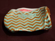 Too Faced Makeup Cosmetic Bag Teal Green & Gold