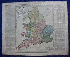 Original antique map GEOGRAPHICAL & STATISTICAL MAP OF ENGLAND, Lavoisne, 1828