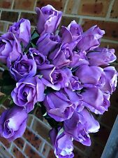 New Silk Roses Bud Real Touch. x24 Purple stem. Look &Feel Real Flowers. Gifts