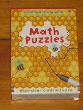 Usborne Activity Card Set Math Puzzles wipe clean cards with pen  Good used