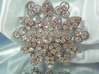 FABB Sparkling Stacked Ice Rhinestone Vintage 80's WOW Large Flower Brooch 823D0