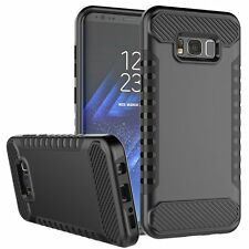 Samsung Galaxy S8 BLACK Membrane Shockproof Case Dual Layer + 2 Phone Protection