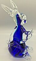 Vintage Clear & Cobalt Blue Murano Style Blown Art Glass Easter Bunny Rabbit
