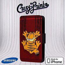 Garfield el Gato Cómic Divertido Apto para Iphone/Samsung Funda Libro Cuero