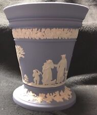 "Wedgwood Jasperware - Blue Vase with Floral Design - 5"" height in Mint Condition"