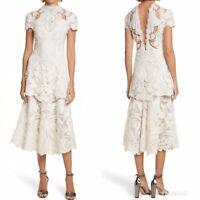 NWT Jonathan Simkhai Lace Applique Midi Dress Sz 6 Ivory $1195