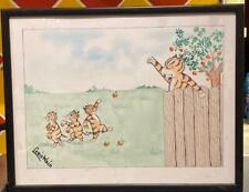 Louis Wain Framed Signed Painting 40 x 30 cm