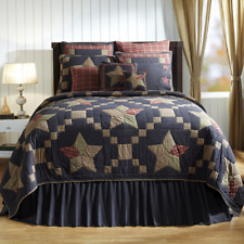 Arlington Queen Size Patchwork Star Cotton Quilt-Navy,Khaki+Red or Red Euro Sham