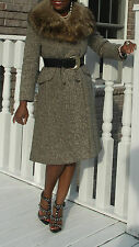Fabulous Full length Tweed & Raccoon fur collar Coat jacket  stroller bolero S-6