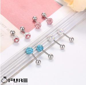 Women Men Stainless Steel Crystal Ball Shiny Screw Cartilage Stud Earring 5-8MM