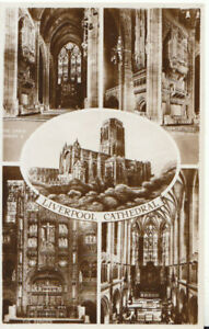 Lancashire Postcard - Views of Liverpool Cathedral - Real Photograph  Ref TZ7585