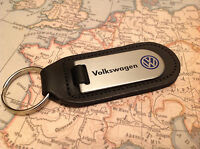 VW Key Ring Etched and infilled On Leather GOLF GTI POLO